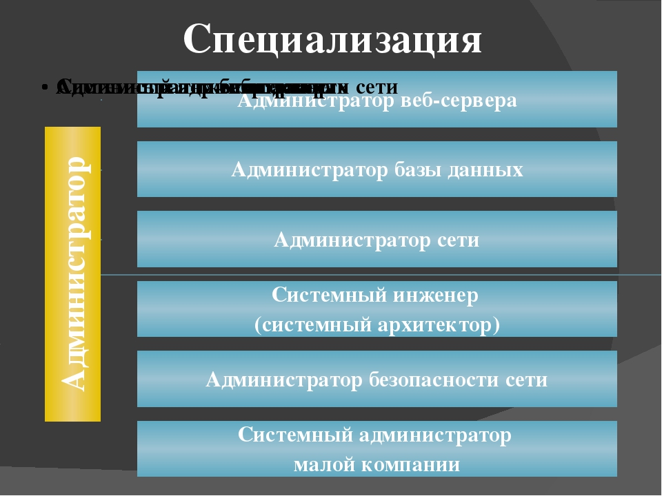 Администратор сети Занимается разработкой и обслуживанием сетей. Обладает глу...