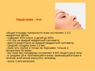 общая площадь поверхности кожи составляет 1,5-2 квадратных метра; - содержит
