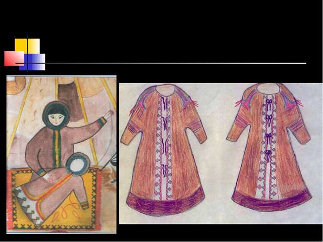 Женщины обычно украшают малицы меховой мозаикой. Это композиции из контрастны...