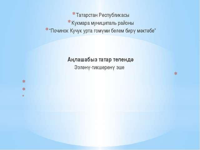 "Татарстан Республикасы Кукмара муниципаль районы ""Починок Кучук урта гомүми..."