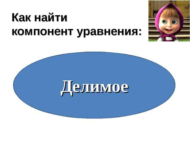 Как найти компонент уравнения: Вычитаемое Слагаемое Делитель Уменьшаемое Дели...