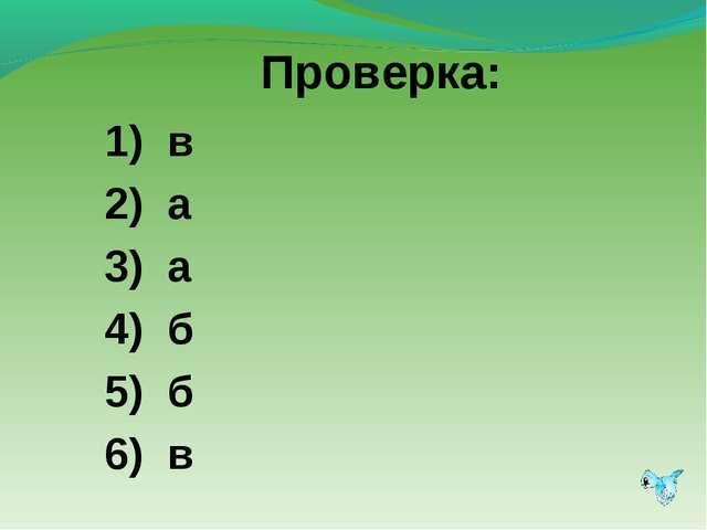 Проверка: 1) в 2) а 3) а 4) б 5) б 6) в