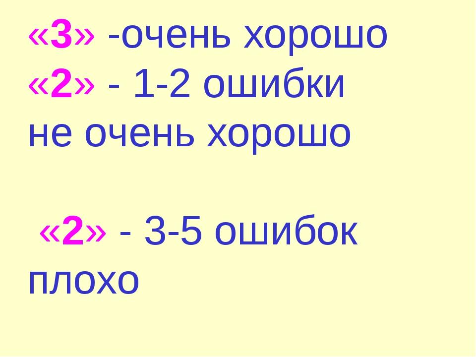 «3» -очень хорошо «2» - 1-2 ошибки не очень хорошо «2» - 3-5 ошибок плохо