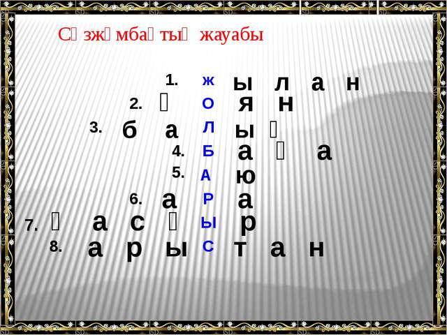 ы л а н қ я н б а ы қ а қ а ю а а қ а с қ р а р ы т а н Сөзжұмбақтың жауабы 7...