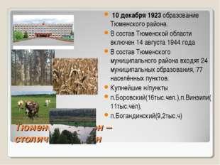 Тюменский район – столичный район 10 декабря 1923 образование Тюменского райо