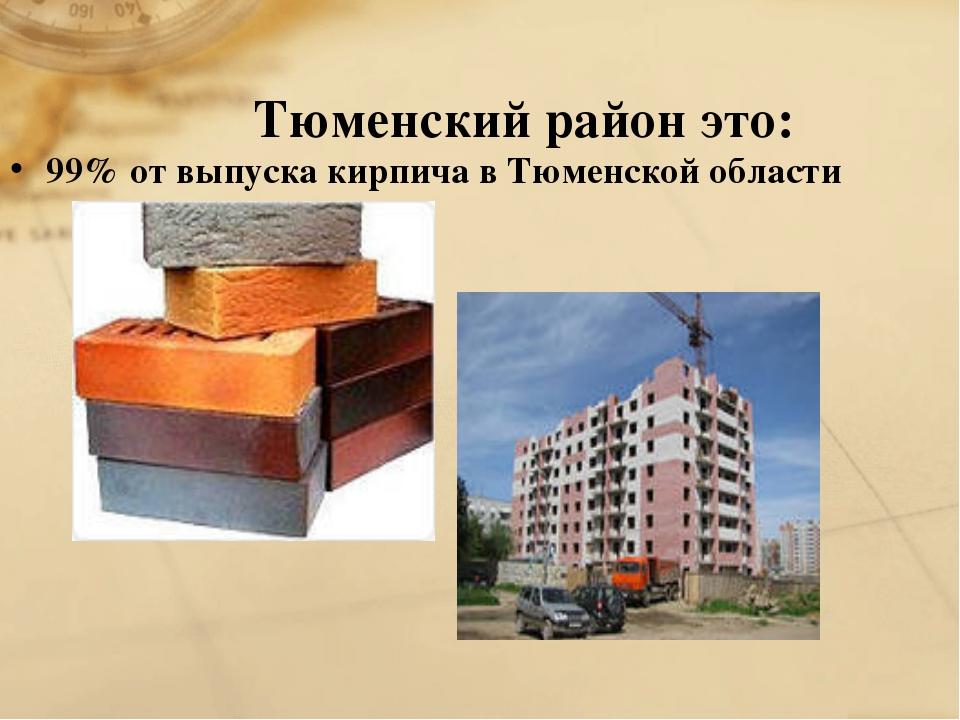 Тюменский район это: 99% от выпуска кирпича в Тюменской области