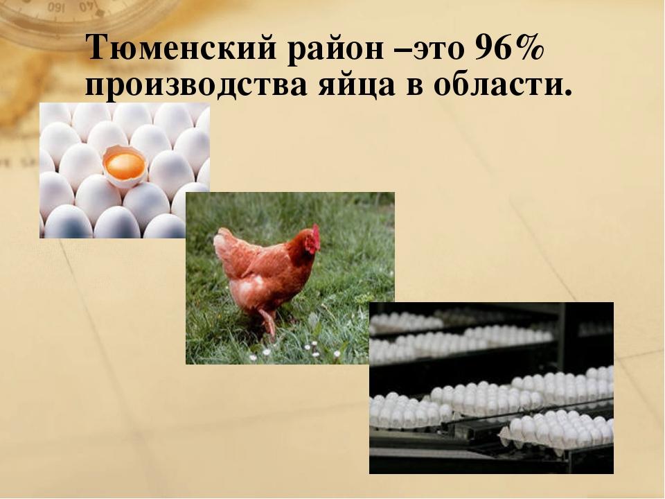 Тюменский район –это 96% производства яйца в области.