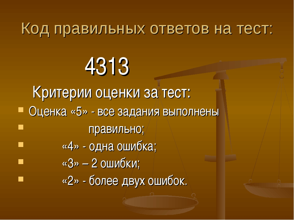 Код правильных ответов на тест: 4313 Критерии оценки за тест: Оценка «5» - вс...