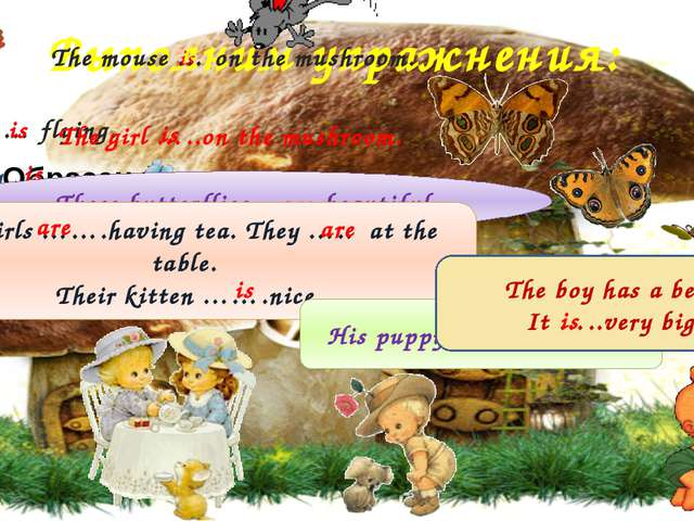 Выполним упражнения: The mouse … on the mushroom. The owl … flying. is is The...