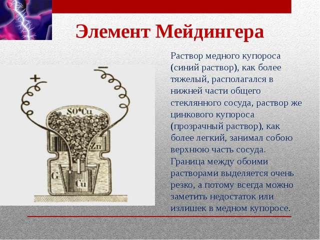 Элемент Мейдингера Раствор медного купороса (синий раствор), как более тяжелы...