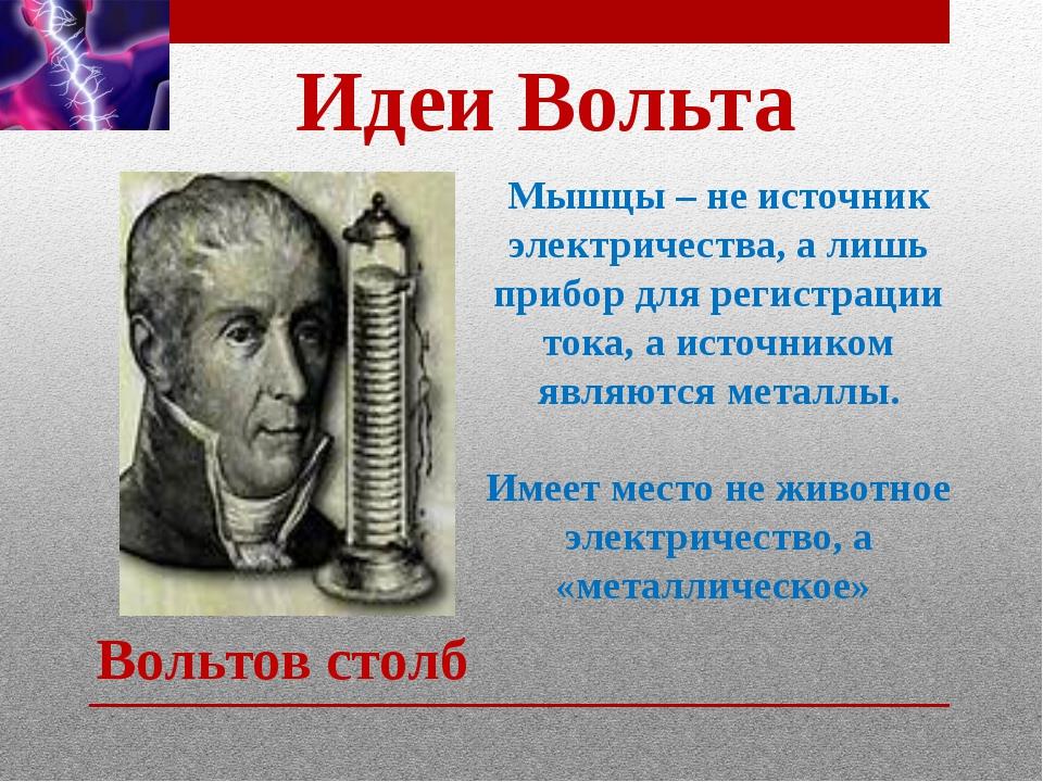 Идеи Вольта Мышцы – не источник электричества, а лишь прибор для регистрации...