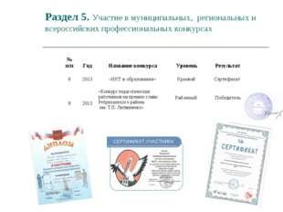 Раздел 5. Участие в муниципальных, региональных и всероссийских профессиональ