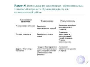 Раздел 6. Использование современных образовательных технологий в процессе обу