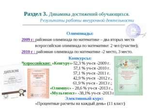 Раздел 3. Динамика достижений обучающихся. Результаты работы внеурочной деяте