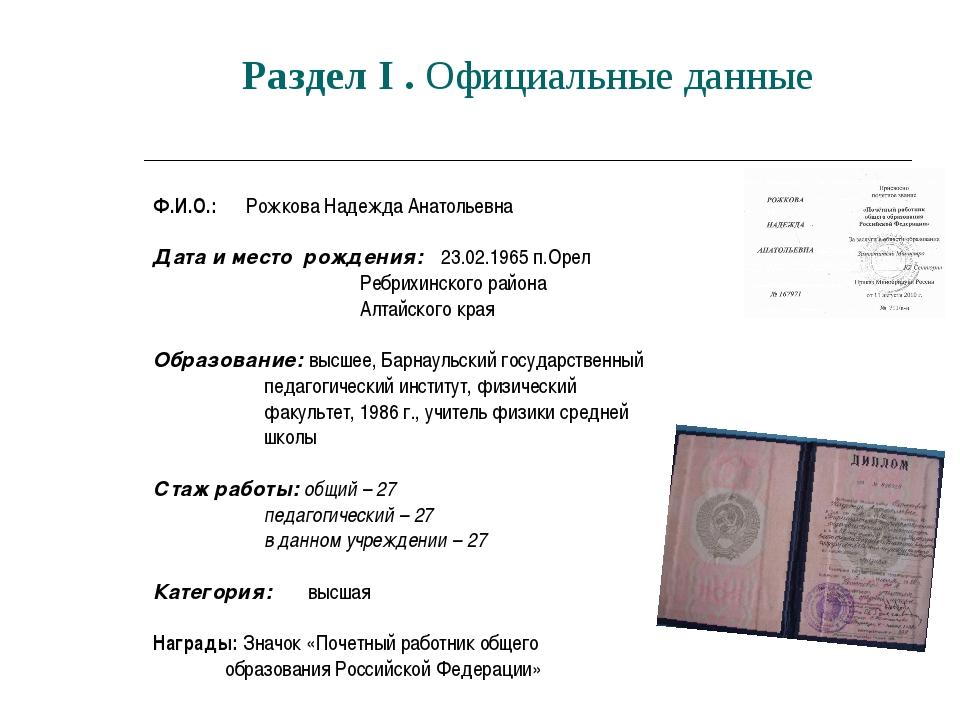 Раздел I . Официальные данные Ф.И.О.: Рожкова Надежда Анатольевна Дата и мест...