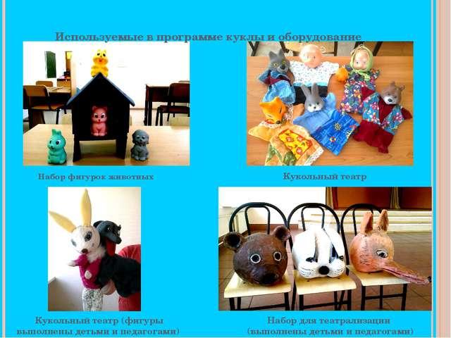 Используемые в программе куклы и оборудование Набор фигурок животных Кукольн...