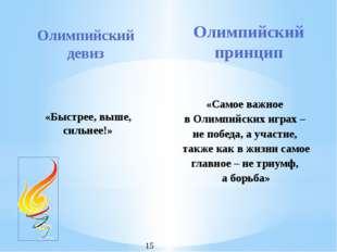 Олимпийский девиз «Быстрее, выше, сильнее!» Олимпийский принцип «Самое важное