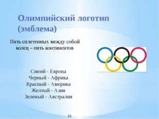 Олимпийский логотип (эмблема) Пять сплетенных между собой колец – пять контин