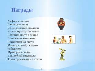 Награды Амфора с маслом Пальмовая ветвь Венок из ветвей маслины Имя на мрамор