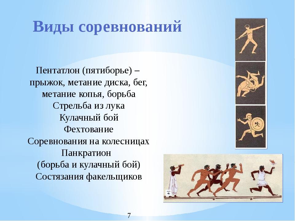 Виды соревнований Пентатлон (пятиборье) – прыжок, метание диска, бег, метание...