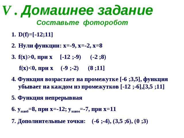 V . Домашнее задание D(f)=[-12;11] Нули функции: х=-9, х=-2, х=8 f(x)>0, при...