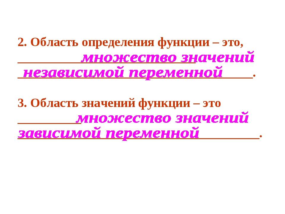 2. Область определения функции – это, ____________________________ __________...