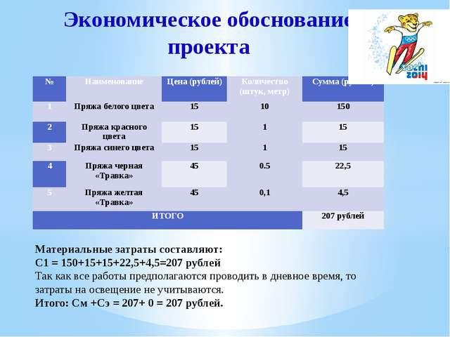 Экономическое обоснование проекта Материальные затраты составляют: С1 = 150+1...