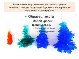 Заключение: выращивание кристаллов - процесс занимательный, но требующий бере