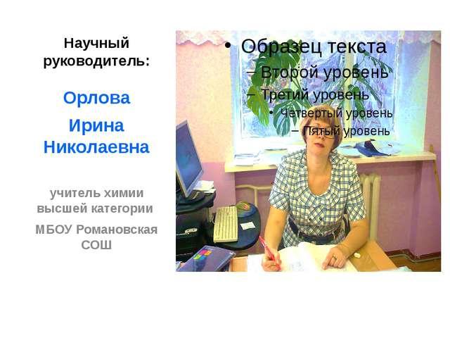 Научный руководитель: Орлова Ирина Николаевна учитель химии высшей категории...