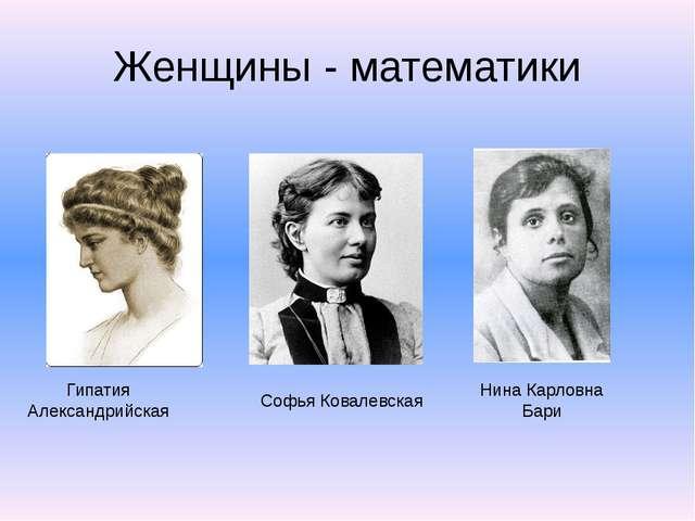 Женщины - математики Гипатия Александрийская Софья Ковалевская Нина Карловна...