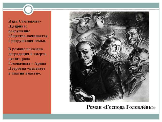 Роман «Господа Головлёвы» Идея Салтыкова-Щедрина: разрушение общества начина...