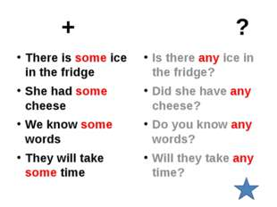+ ? There is some ice in the fridge She had some cheese We know some words T