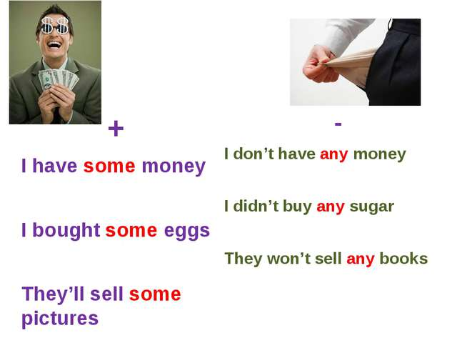 + I have some money I bought some eggs They'll sell some pictures - I don't h...