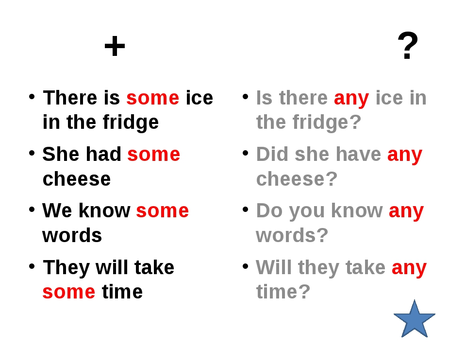 + ? There is some ice in the fridge She had some cheese We know some words T...
