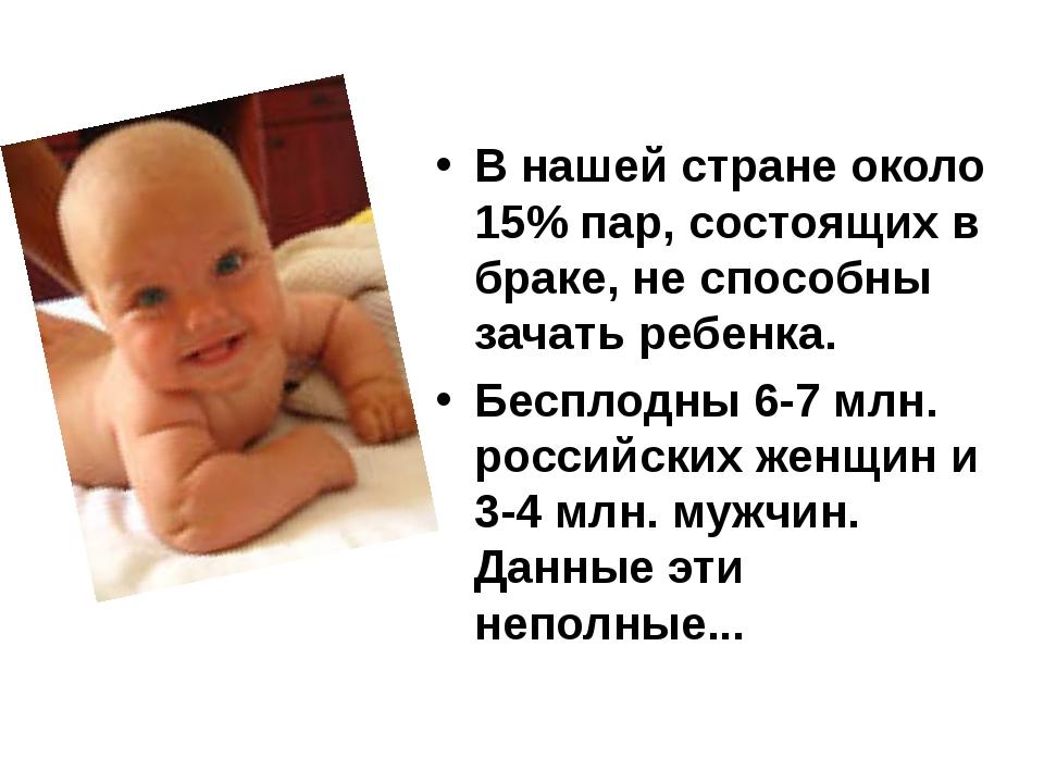 В нашей стране около 15% пар, состоящих в браке, не способны зачать ребенка....