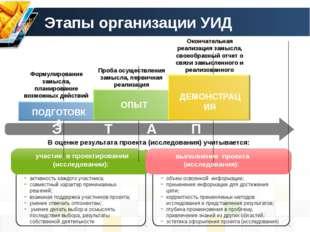 Этапы организации УИД Э Т А П Ы Формулирование замысла, планирование возможны