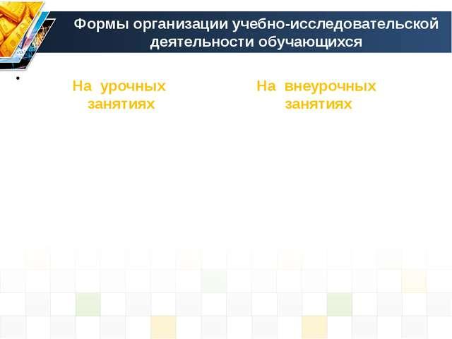 Формы организации учебно-исследовательской деятельности обучающихся На урочны...