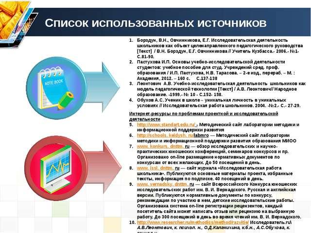 Список использованных источников Интернет-ресурсы по проблемам проектной и ис...