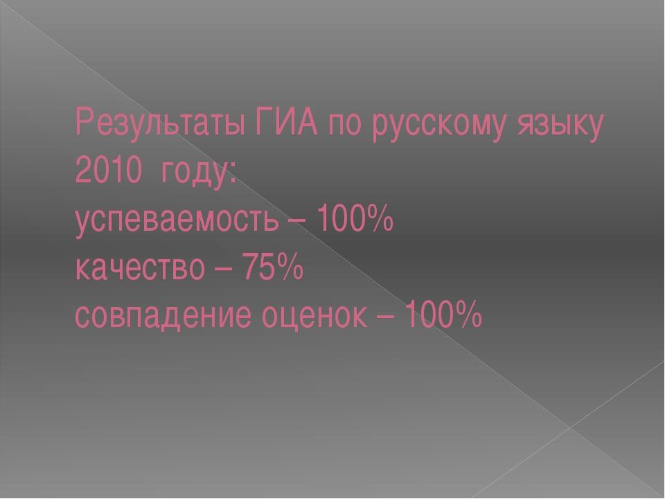 Результаты ГИА по русскому языку 2010 году: успеваемость – 100% качество – 75...