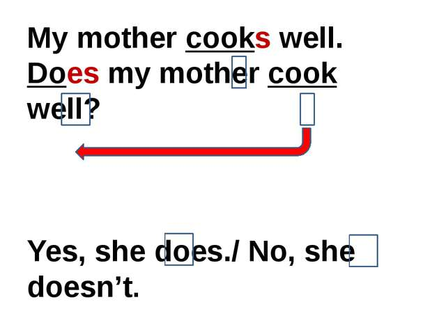 My mother cooks well. Does my mother cook well? Yes, she does./ No, she doesn...