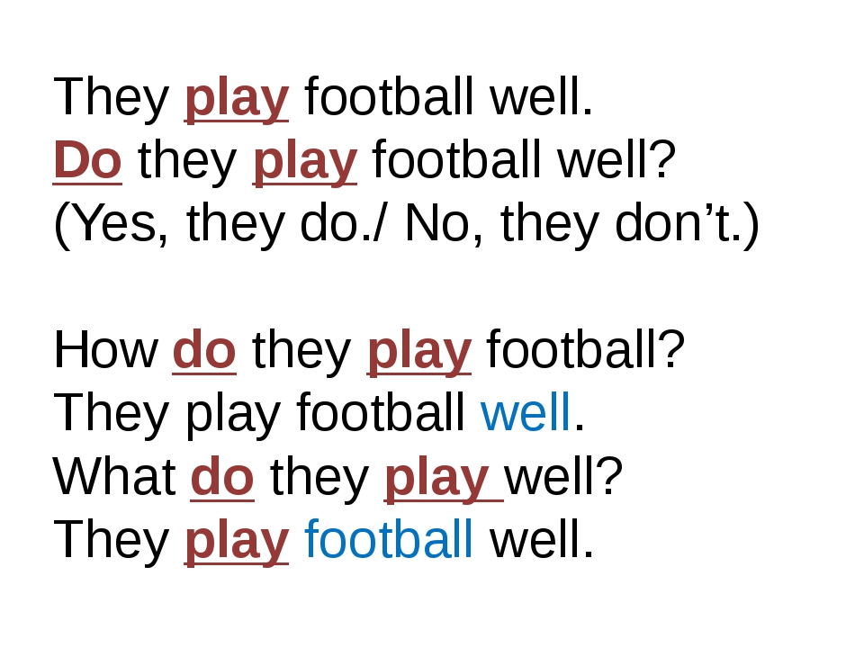 They play football well. Do they play football well? (Yes, they do./ No, they...