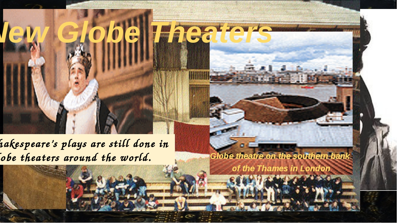 Globe theatre on the southern bank of the Thames in London New Globe Theaters...