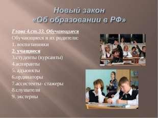 Глава 4.ст.33. Обучающиеся Обучающиеся и их родители: 1. воспитанники 2. учащ