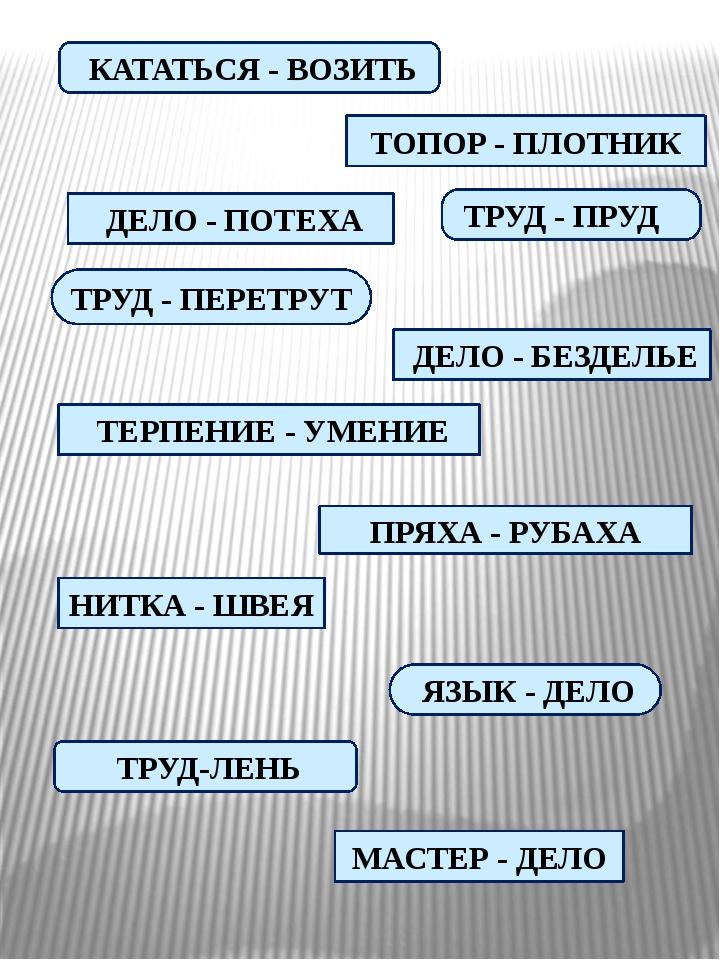 КАТАТЬСЯ - ВОЗИТЬ ТРУД - ПЕРЕТРУТ ТРУД-ЛЕНЬ МАСТЕР - ДЕЛО ЯЗЫК - ДЕЛО ТЕРПЕН...
