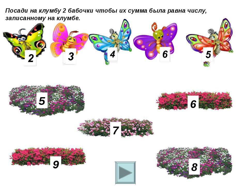 Посади на клумбу 2 бабочки чтобы их сумма была равна числу, записанному на кл...