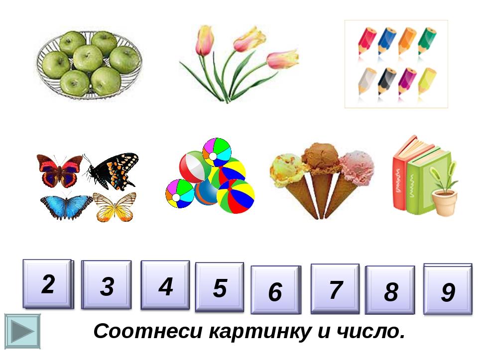 Соотнеси цифру с количеством предметов картинки