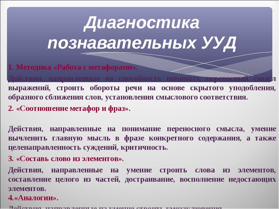 Диагностика познавательных УУД 1. Методика «Работа с метафорами». Действия, н...