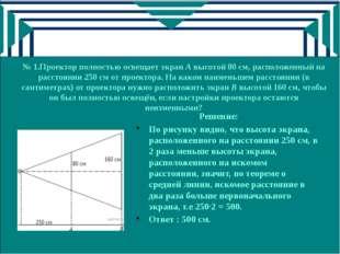 № 1.Проектор полностью освещает экран A высотой 80 см, расположенный на расст