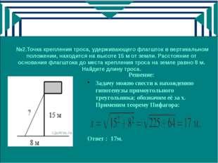 №2.Точка крепления троса, удерживающего флагшток в вертикальном положении, н