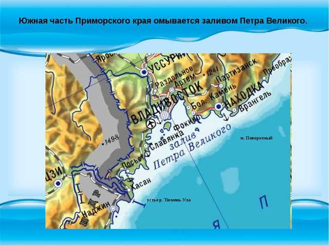 Южная часть Приморского края омывается заливом Петра Великого. м. Поворотный...